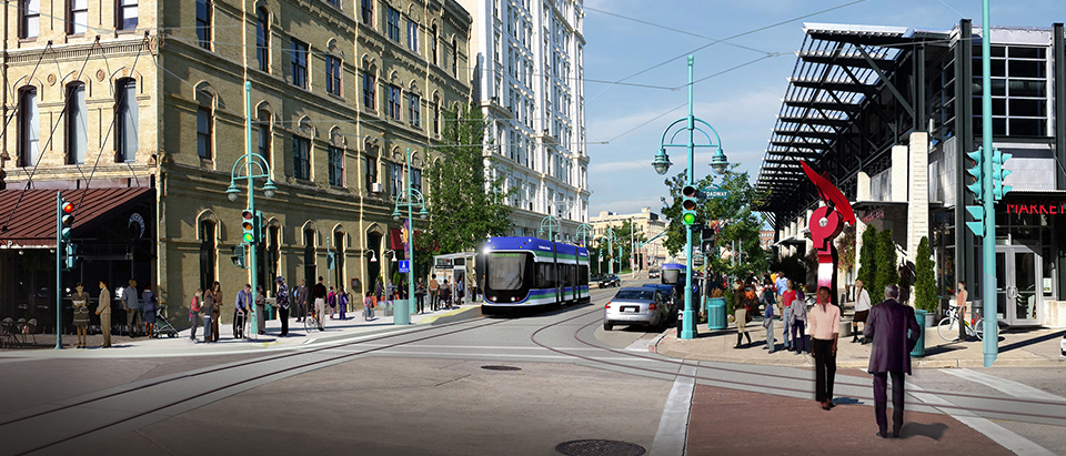Streetcar rendering on Broadway